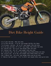 Dirt Bike Height Chart Dirt Bike Sizing Chart Interactive Guide 2019 110cc