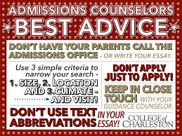 advice from admissions college of charleston advice from admissions
