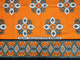 African Khanga Designs African Khanga Sarong Throw Beach Wrap Orange Grey White