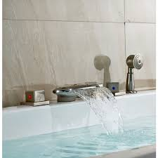 brushed nickel finish roman tub faucet mixer tap with hand held shower head