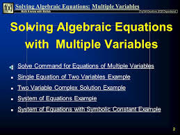 2 solving algebraic equations with multiple variables