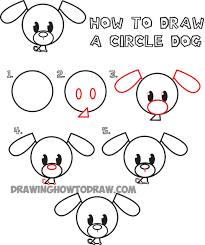 cute dogs drawings step by step. Beautiful Cute How To Draw A Cute Cartoon Circle Doggy And Dogs Drawings Step By U