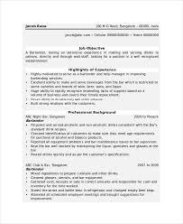 Bartender Resume Template 6 Free Word Pdf Document