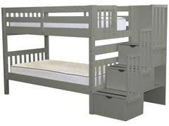 white bunk bed with stairs. Exellent Bed Bunk Bed Twin Over Stairway Gray For Only 675 Inside White With Stairs T
