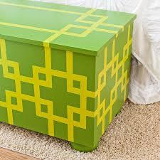 detail of stenciled storage chest