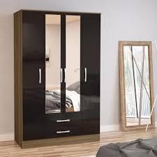 4 Door Cupboard Designs For Bedrooms Lynx Walnut Black 4 Door 2 Draw Wardrobe