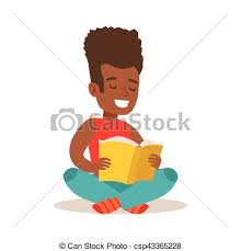 boy with afro sitting with legs crossed on the floor who loves to read ilration with kid enjoying reading an open book ager bookworm cartoon