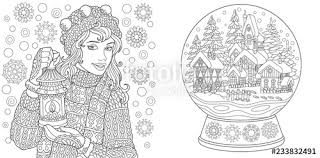 Coloring Pages With Winter Girl And Magic Crystal Snow Ball Stock
