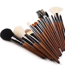 zoreya tm makeup brushes 15pc high end real walnut handle makeup brush set with free dark brown leather brush case bag holder with angled contour brush
