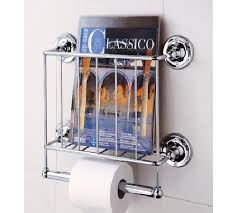 Toilet Roll Holder Magazine Rack Wall Mount Bathroom Rack Toilet Roll Holder Magazine Metal Storage 4