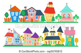 Cute Cartoon Houses Collection Funny Colorful Kid Vector House Set Kids Street