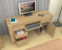 wooden computer desk for home office with some drawers