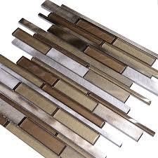 metallic brown glass modern subway kitchen backsplash tile