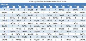 Capo Transpose Chart How To Guitar Strings Picks And Capos