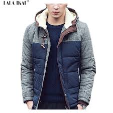 beautifu winter jacket men patchwork hit color hooded winter warm coat thick for male jacket the