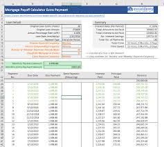 Paying Extra On Mortgage Principal Calculator Mortgage Payoff Calculator With Extra Principal Payment Excel Template