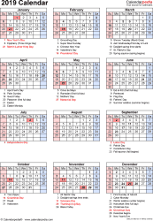 Vacation Calendar Templates 2019 Calendar Download 18 Free Printable Excel Templates