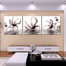 3 piece canvas art flower in water magnolia decoration for home wall art printed canvas painting artwork for living room j0242 in painting calligraphy  on house wall art painting with 3 piece canvas art flower in water magnolia decoration for home wall