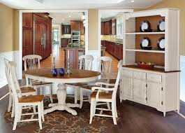 dining room french country room two tone white and brown finish rectangular teak wooden frame