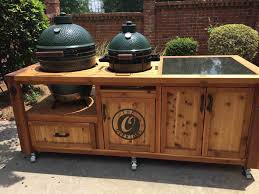 gallery of green egg table cabinet by deck kitchen custommadecom building you building custom big green egg tables jpg