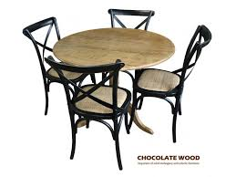 nordic d 75cm stunning solid oak round dining table with pedestal 2 black cross back dining chairs