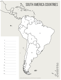 South America Countries Printables Map Quiz Game