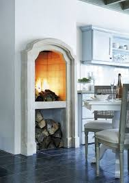 gorgeous fireplace in kitchen
