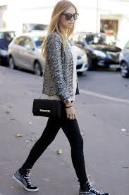 how to wear grey sequin blazer white silk sleeveless top black skinny jeans