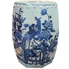 new arrival from jingdezhen china chinese blue white hexagonal pheasant stool sold out