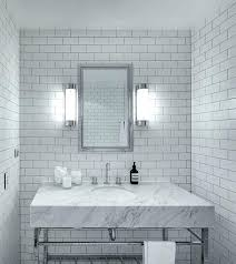 light gray tile bathroom white subway with grout floor