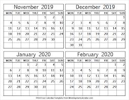 November 2019 To February 2020 Calendar Excel Editable
