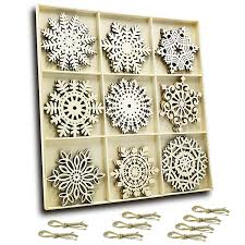 set of 27 hanging wood snowflakes ornaments snowflake decoration unfinished wooden snowflakes large for crafts winter wedding decor xmas ornament