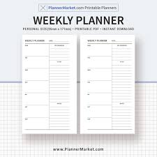 Minimalist Weekly Planner Weekly Schedule Weekly Agenda Personal Size Printable Planner Inserts Planner Pages Instant Download