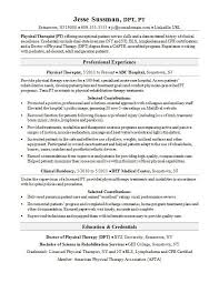 Physical Therapy Resume Template Physical Therapist Resume Sample