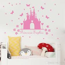 w340 princess castle wall sticker with personalised name kids room decor vinyl wall decal nursery room decor polka dot wall decals pretty wall decals from