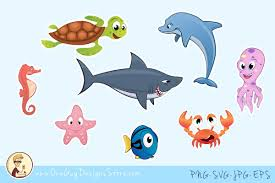 cute sea animals clipart. Delighful Animals Sea Animals Clipart Underwater Life Cute Characters Example Image 1 Throughout Clipart A