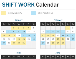 Year At A Glance Calendars Shift Work Calendar Year At A Glance