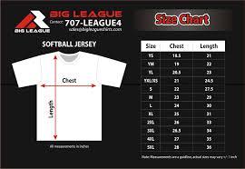 Sizing Chart Big League Shirts
