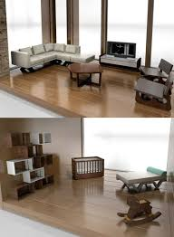 Classic Contemporary Furniture for modern dollhouses showing miniature  living room set, including
