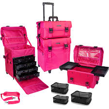 shany soft makeup artist rolling trolley cosmetic case with free set of mesh bags summer