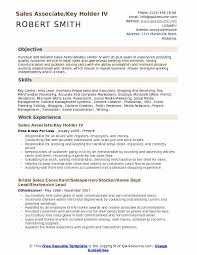 Sales Associate Key Holder Resume Samples Qwikresume