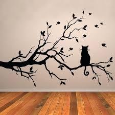 wall arts wall art tree stickers cat on branch birds vinyl sticker decorative window kitchen