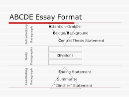 the five paragraph essay for persuasive and expository writing abcde essay format attention grabber bridge background