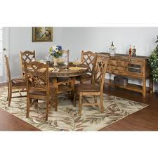santa fe 60 round dual height table w lazy susan set