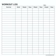 Exercise Chart Template Sample Workout Weight Training