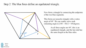 hard geometry problem unbelievably elegant solution mind  as all three angles are 60 degrees the triangle is equilateral and the final side has the same length as the blue sides