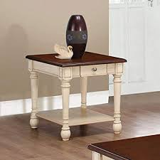 Antique white sofa table Narrow Image Unavailable Amazoncom Amazoncom Rectangular End Table Dark Brown And Antique White