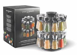 Amazon.com: Cole & Mason Herb and Spice Rack with Spices - Revolving  Countertop Carousel Set Includes 20 Filled Glass Jar Bottles: Kitchen &  Dining