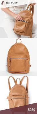 the baggu leather backpack in saddle the baggu leather backpack in saddle a classic backpack in the softest leather outer zip pocket adjustable backpack