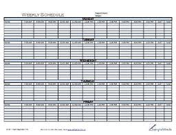 Weekly Schedule Template Printable Form In Pdf Format Business